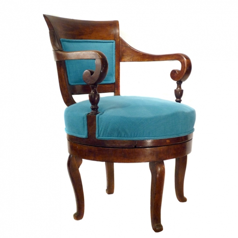 english mahogany swivel, desk chair