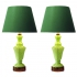 green glass table lamps, france 1950s