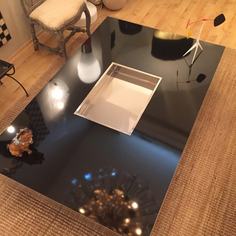 coffee table, black and chrome