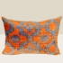 ikat cushion, orange-blue