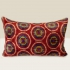 ikat cushion, red blue-yellow dots