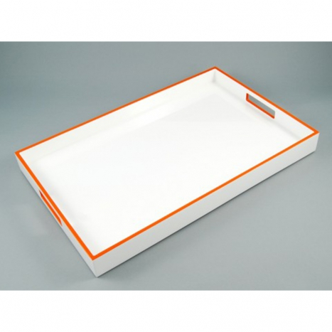 breakfast tray, white with orange