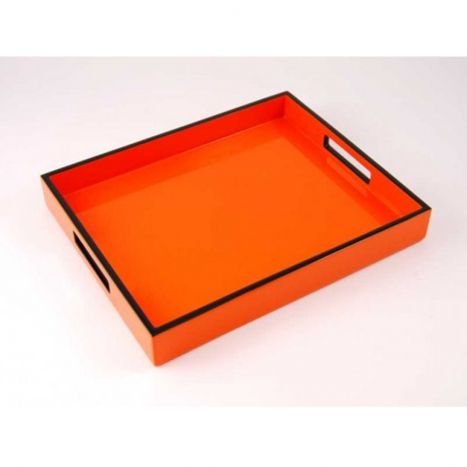 serving tray, orange with black