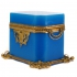 antique box, blue opaline glass