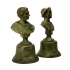 pair of busts, bronze