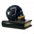 paper weight, scull on book