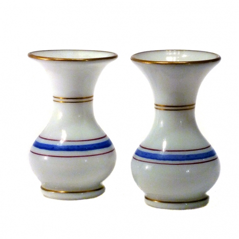 small vases, antique opaline glass