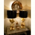 pair of table lamps, brass cubes