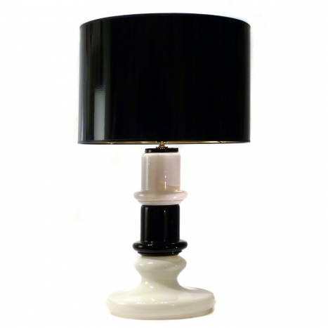 black and white lamp, vintage murano glass
