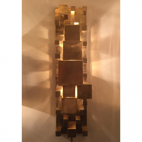 pair of brass wall lights, amazing cubes