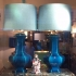 1950s blue-turquoise lamps, french ceramics