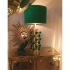 pair of lamps, brass and green glass