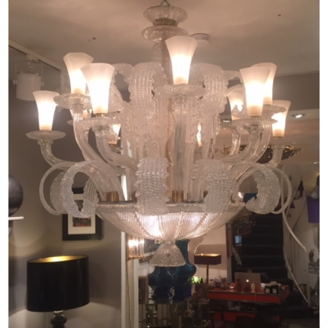 vintage clear murano glass, chandelier