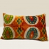 ikat cushion, orange-green-blue